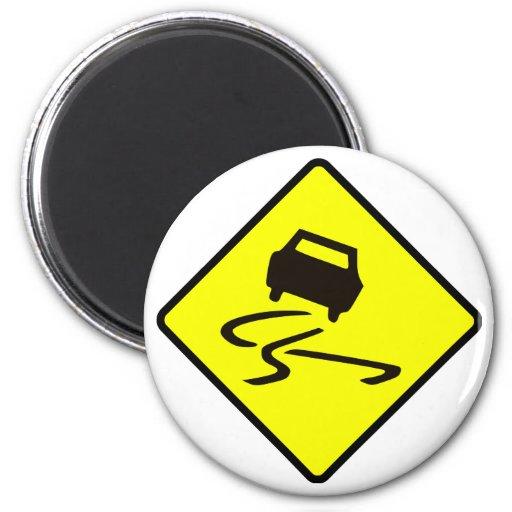 Slippery When Wet Road Traffic sign Australia Car Fridge Magnets