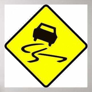 Slippery When Wet Road Traffic sign Australia Car Print