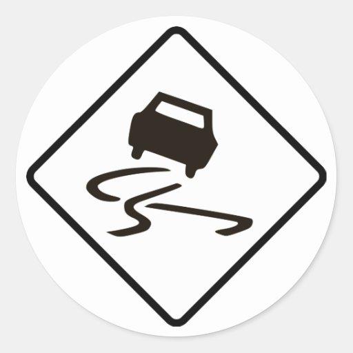 Slippery When Wet Road Traffic sign Australia Car Classic Round Sticker