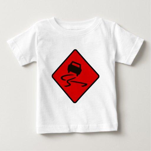 Slippery When Wet Road Traffic sign Australia Car T-shirt