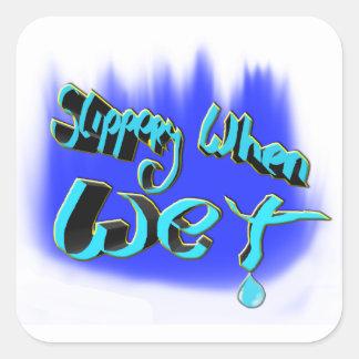 slippery when wet square sticker