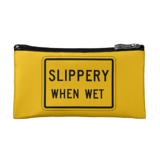Slippery When Wet, Traffic Warning Sign, USA Makeup Bags