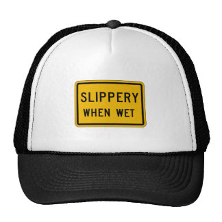 Slippery When Wet, Traffic Warning Sign, USA Hats