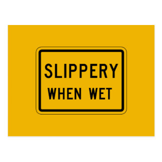 Slippery When Wet, Traffic Warning Sign, USA Postcard