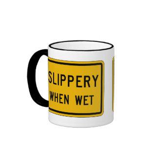 Slippery When Wet, Traffic Warning Sign, USA Ringer Mug