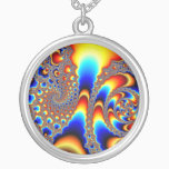 Slipping Through - Fractal Art Silver Plated Necklace