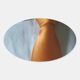 slipsie golden orange oval sticker