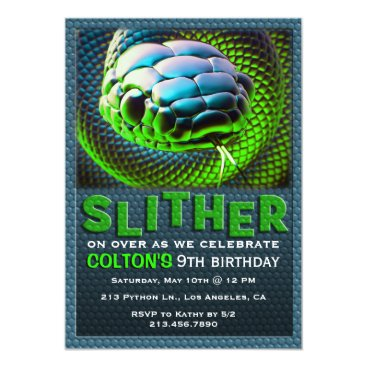 tictactogs Slither Snake Green Reptile Birthday Invitation