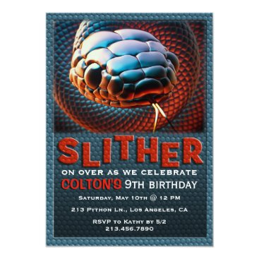 tictactogs Slither Snake Reptile Birthday Party Invitation