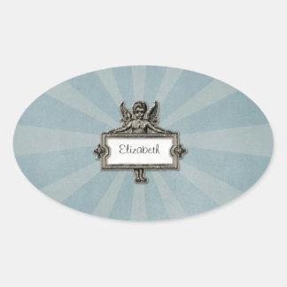 Sliver Angel Name Plate Blue Starburst Oval Sticker