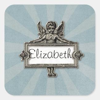 Sliver Angel Name Plate Blue Starburst Square Sticker