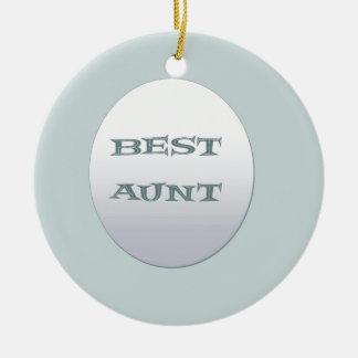 Sliver/Blue Best Aunt Ceramic Ornament