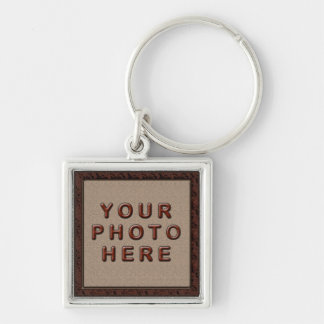 Sliver Finish Personalized Photo Keychains for Men Silver-Colored Square Keychain