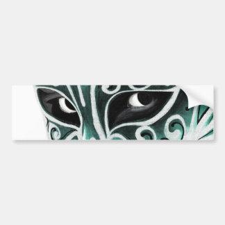 Sliver Flair Mask in Green Bumper Sticker