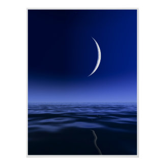 Sliver Moon over Lake Poster