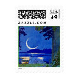 Sliver Moon Pine Lake Reflection Vacation Stamps