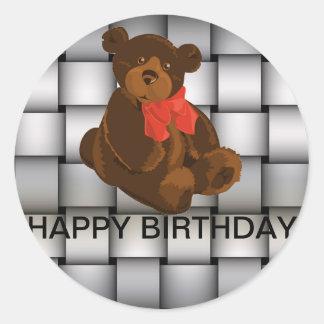 Sliver Plaided Art Birthday Stickers