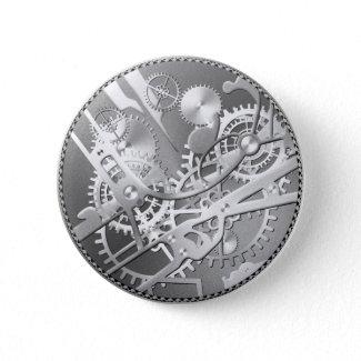Sliver steampunk watch gears button