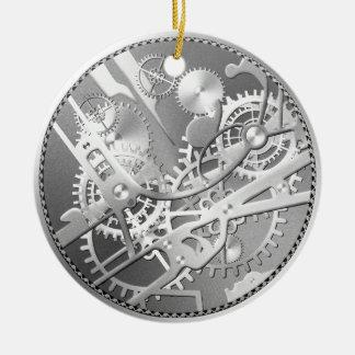 sliver steampunk watch gears ceramic ornament