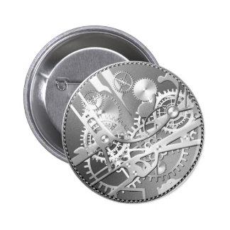 Sliver steampunk watch gears pinback button
