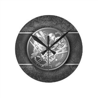 Sliver steampunk watch gears round wall clock
