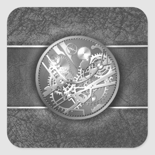 Sliver steampunk watch gears square sticker