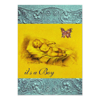 SLLEPING CHILD ,BUTTERFLY YELLOW BLUE BABY SHOWER CARD