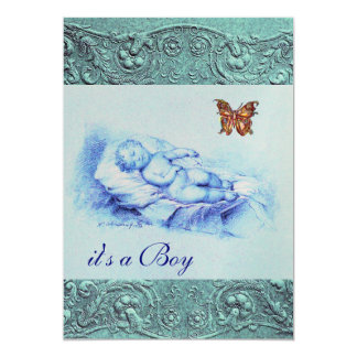 SLLEPING CHILD WITH BUTTERFLY BLUE BOY BABY SHOWER CARD