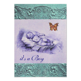 SLLEPING CHILD WITH BUTTERFLY BLUE BOY BABY SHOWER 5X7 PAPER INVITATION CARD