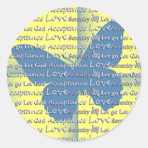 Slogan Butterfly Round Sticker