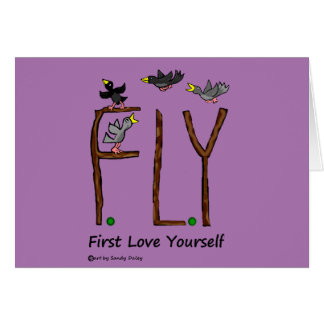 Slogan FLY First Love Yourself Card