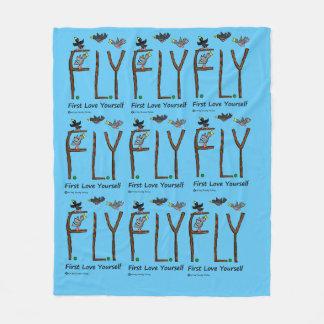 Slogan FLY First Love Yourself Fleece Blanket