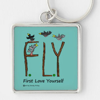 Slogan FLY First Love Yourself Keychain