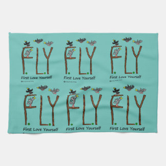 Slogan FLY First Love Yourself Kitchen Towel