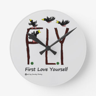 Slogan FLY First Love Yourself Round Clock