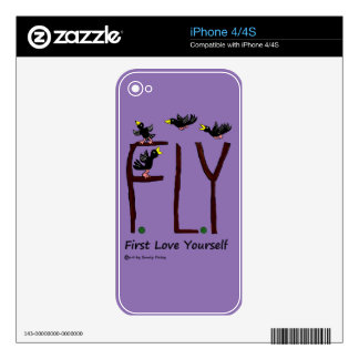 Slogan FLY First Love Yourself Skins For iPhone 4S
