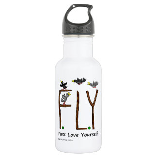 Slogan FLY First Love Yourself Stainless Steel Water Bottle
