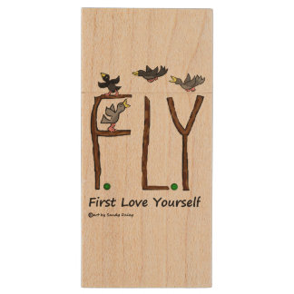Slogan FLY First Love Yourself Wood Flash Drive