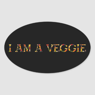"Slogan ""i am a veggie"" with fruits and vegetables oval sticker"
