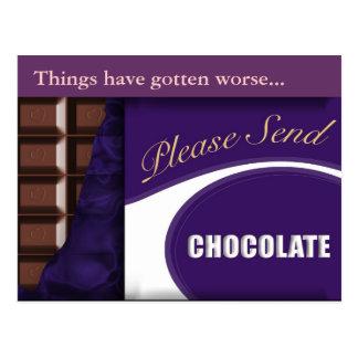"slogan ""Please send chocolate"" postcard"