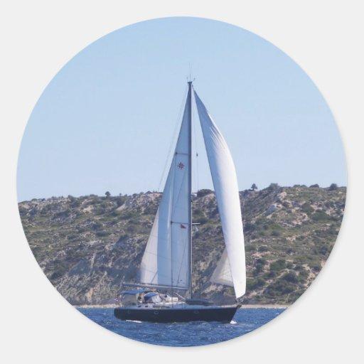 Sloop azul marino pegatina redonda