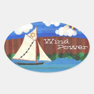 Sloop Clearwater Wind Power Oval Sticker