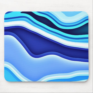 Slopes Blue and White Abstract Mouse Pad