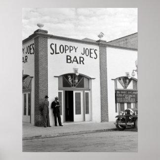Sloppy Joe's Bar, 1938. Vintage Photo Poster