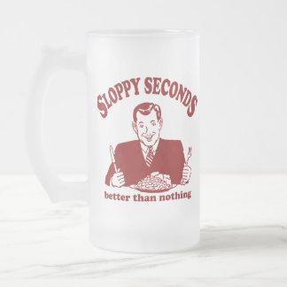 Sloppy Seconds 16 Oz Frosted Glass Beer Mug