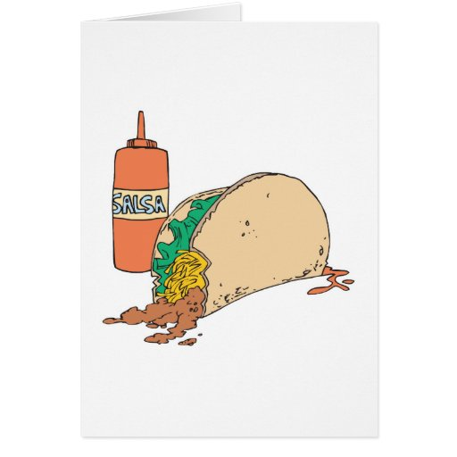 sloppy taco with salsa greeting card