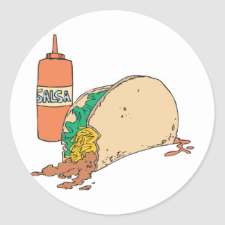 sloppy taco with salsa stickers
