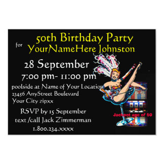 Slot Machine 50th Birthday Party Card
