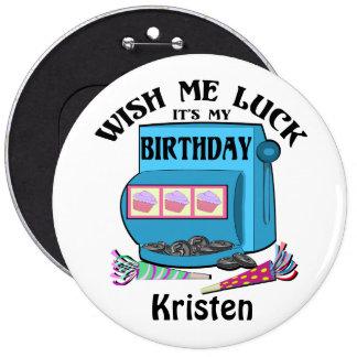 Slot Machine Birthday Pinback Button