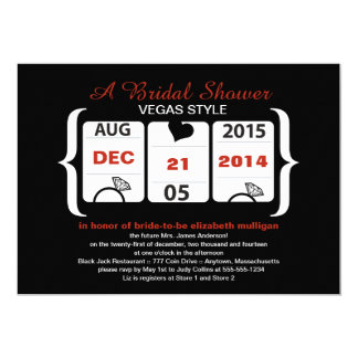 Slot Machine Bridal Shower Custom Announcement Card